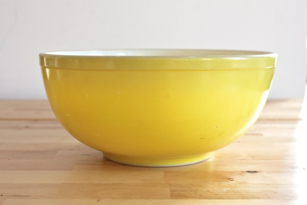 mom's yellow mixing bowl