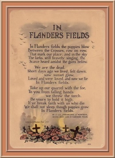 Flanders Fields, Veterans Day, Scheiss Weekly