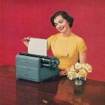 scheiss weekly, jane goodwin, woman typing, blog anniversary