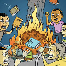 burning books, banned books week