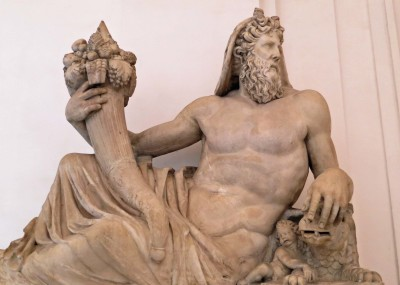 God of the Tiber River, Tiberinus, with a cornucopia.