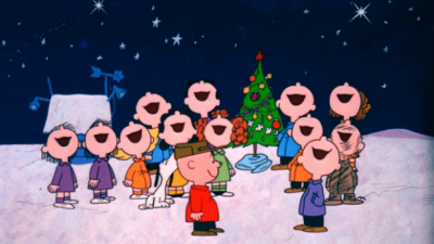 Peanuts, children at Christmas