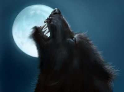 angry werewolf howling at the moon